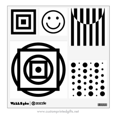 Baby visual stimulation picture black and white wall decals
