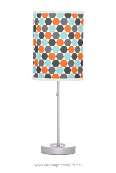Standing lamp with retro hexagon pattern in orange, gray and aqua blue