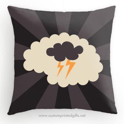 Brainstorming creativity ideas retro brain with thunder cloud and lightning bolts throw pillow