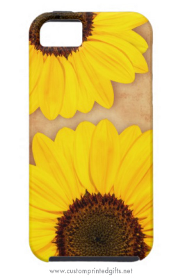 Beautiful yellow sunflowers on stained old paper iphone 5 case