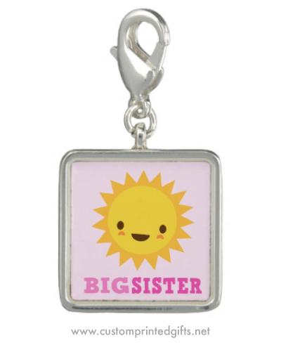 Cute kawaii sun on pink big sister charm bracelet