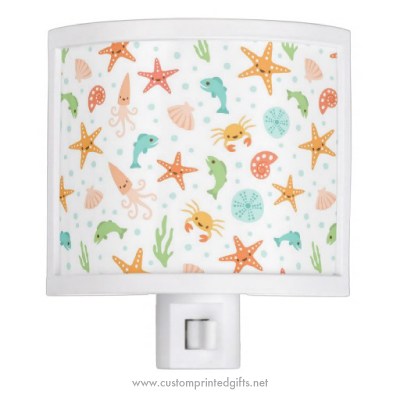 Cute night light for children with kawaii sea life creature pattern