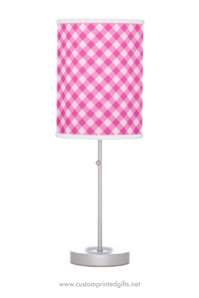 Girly pink gingham pattern standing table lamp for girls