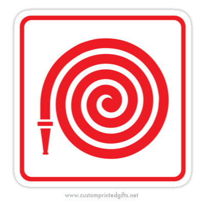 Red fire hose symbol on white background sticker