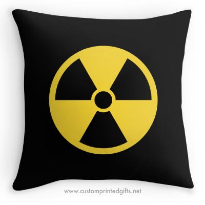 Round yellow on black radioactivity radioactive fallout nuclear radiation symbol pillow