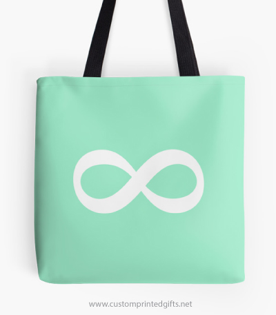 Trendy white infinity eternity forever symbol on mint green background tote bag