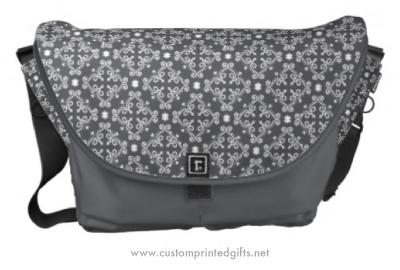 Dark gray ornate floral damask pattern messenger bag
