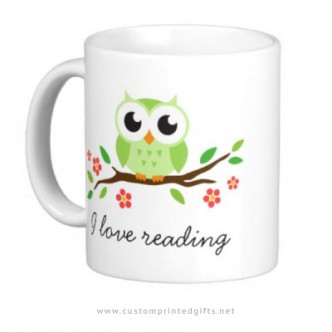 Cute cup for bookworms featuring a green own and customizable text I love reading