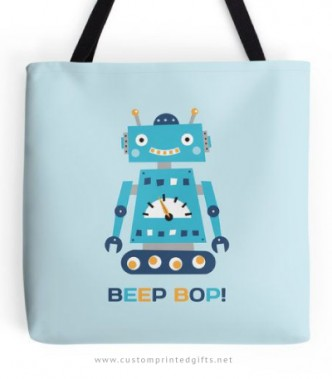 Cute little robot tote bag with text Beep Bop